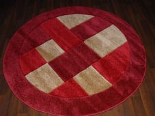 MODERN 140X140CM CIRCLE RUGS WOVEN BACK HAND CARVED BLOCKS RANGE RED/BEIGE NEW